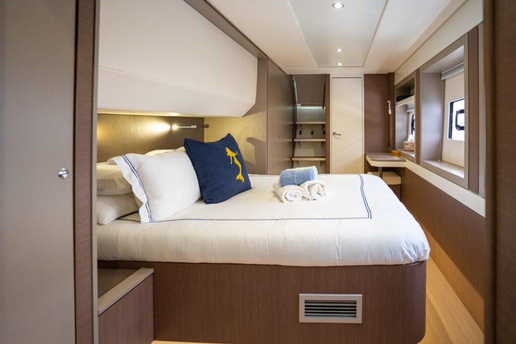 private charter yacht catamaran US virgin islands bedroom cabin Caribbean interior