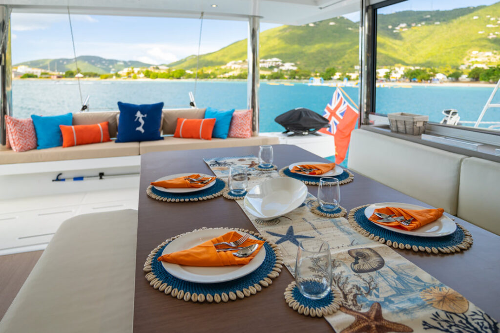dining table yacht charter